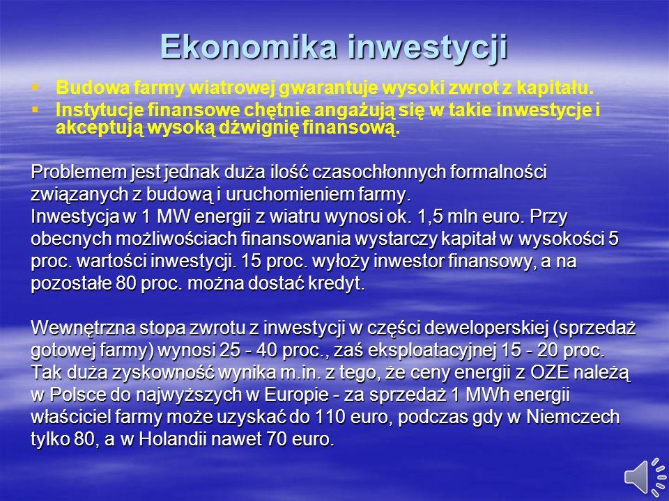 Ekonomika inwestycji Budowa farmy wiatrowej gwarantuje wysoki zwrot z kapitału.