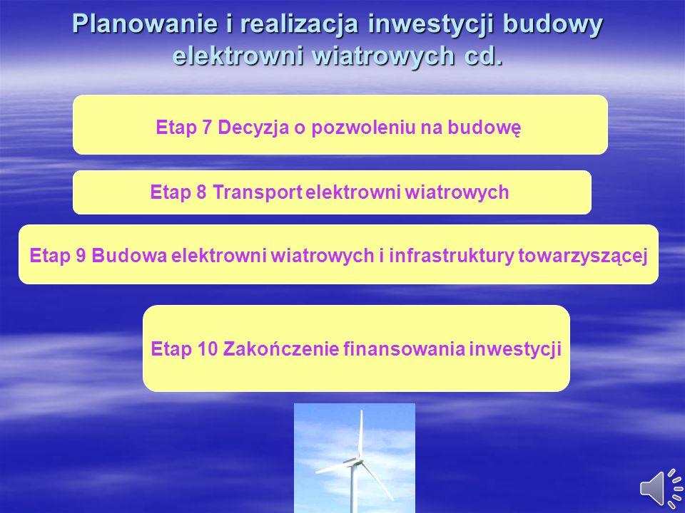 Planowanie i realizacja inwestycji budowy elektrowni wiatrowych cd.