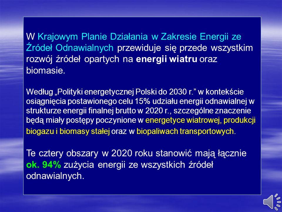W Krajowym Planie Działania w Zakresie Energii ze Źródeł Odnawialnych przewiduje się przede wszystkim rozwój źródeł opartych na energii wiatru oraz biomasie.