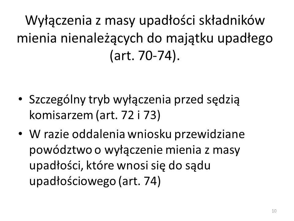 Wyłączenia z masy upadłości składników mienia nienależących do majątku upadłego (art. 70-74).