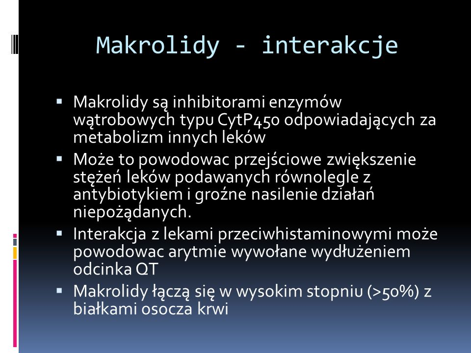 Makrolidy - interakcje