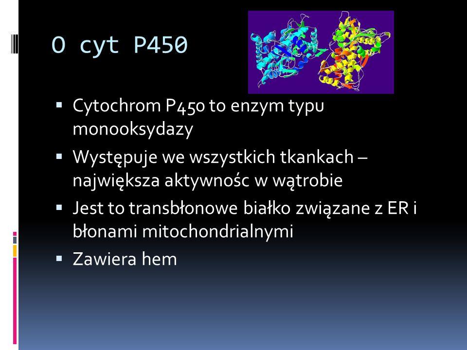 O cyt P450 Cytochrom P450 to enzym typu monooksydazy