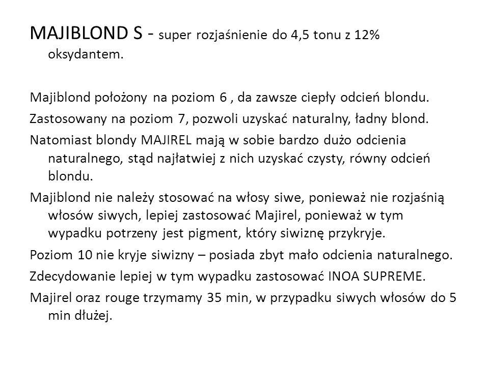 MAJIBLOND S - super rozjaśnienie do 4,5 tonu z 12% oksydantem.