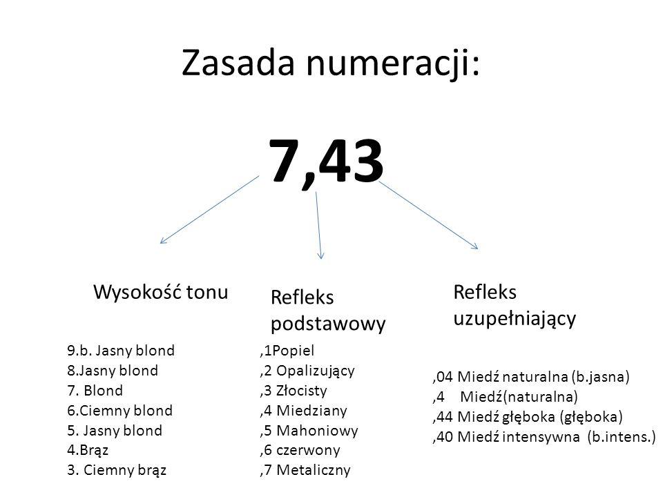 Zasada numeracji: 7,43 Wysokość tonu Refleks uzupełniający