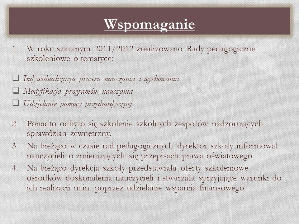 Wspomaganie W roku szkolnym 2011/2012 zrealizowano Rady pedagogiczne szkoleniowe o tematyce: Indywidualizacja procesu nauczania i wychowania.
