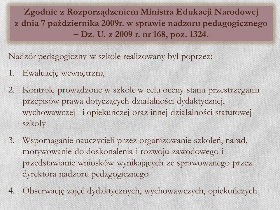 Zgodnie z Rozporządzeniem Ministra Edukacji Narodowej z dnia 7 października 2009r. w sprawie nadzoru pedagogicznego – Dz. U. z 2009 r. nr 168, poz. 1324.
