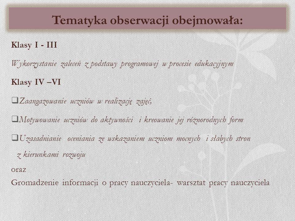 Tematyka obserwacji obejmowała:
