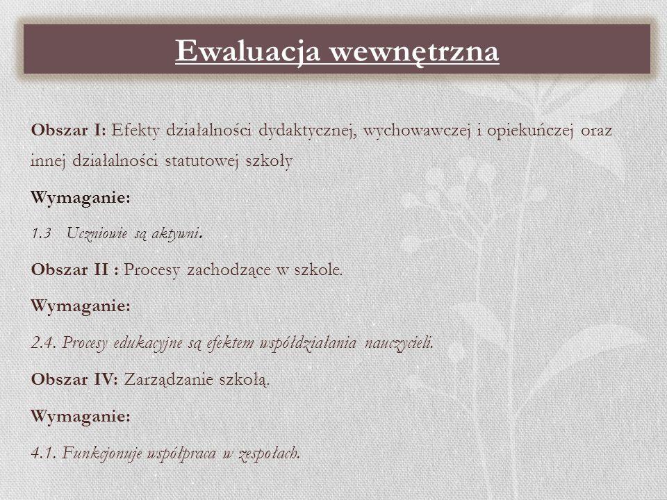 Ewaluacja wewnętrzna Obszar I: Efekty działalności dydaktycznej, wychowawczej i opiekuńczej oraz innej działalności statutowej szkoły.