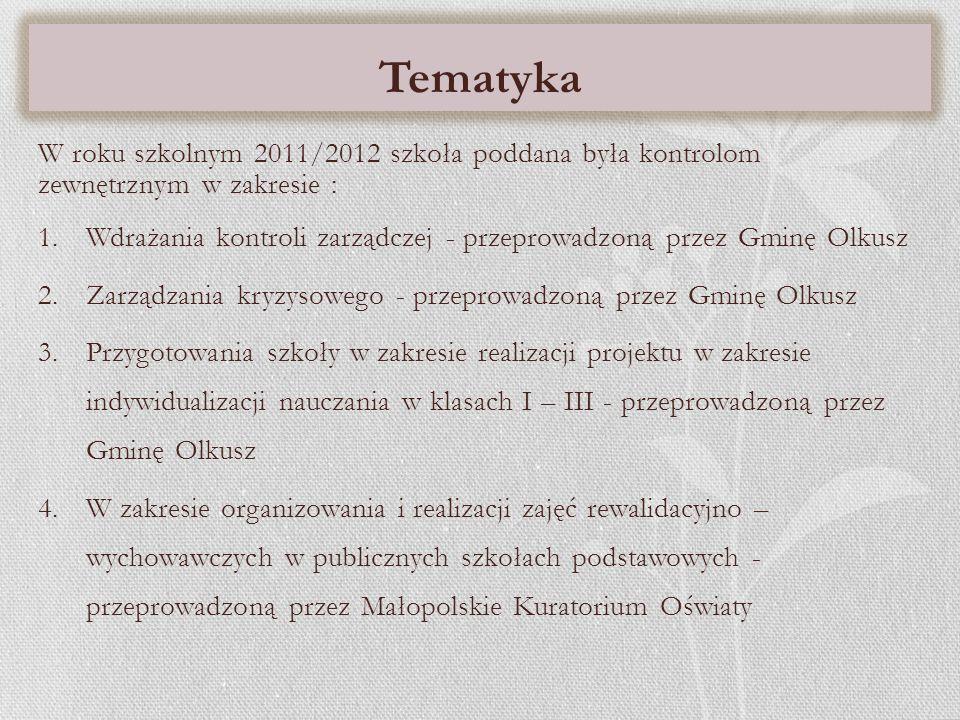 Tematyka W roku szkolnym 2011/2012 szkoła poddana była kontrolom zewnętrznym w zakresie :