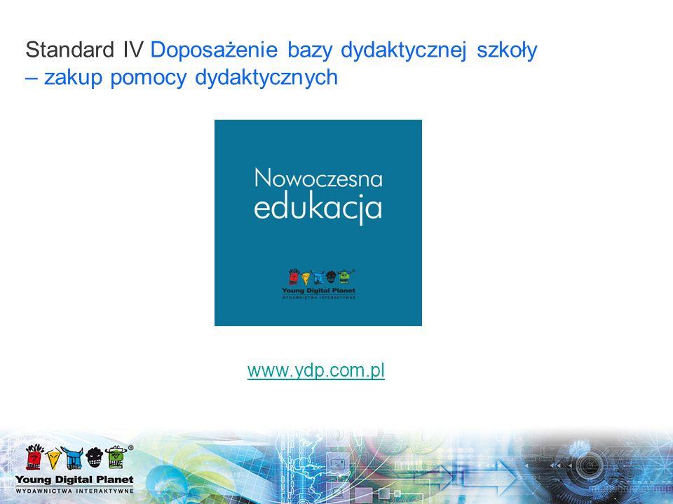 Standard IV Doposażenie bazy dydaktycznej szkoły – zakup pomocy dydaktycznych