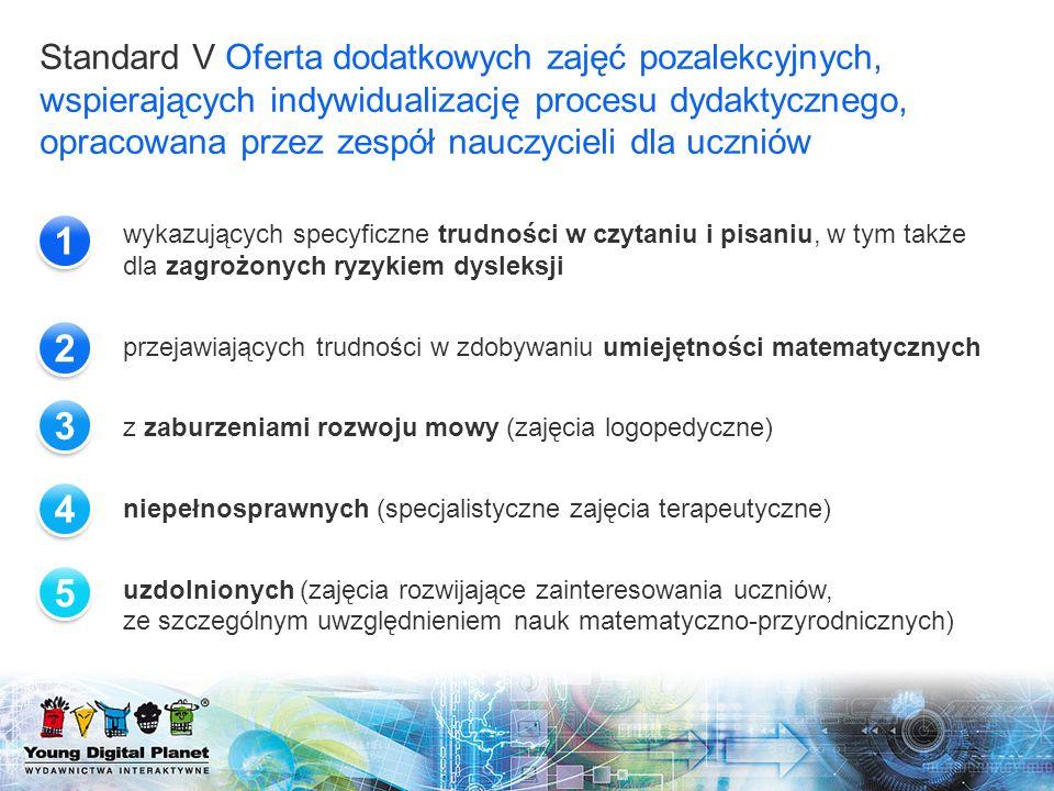 Standard V Oferta dodatkowych zajęć pozalekcyjnych, wspierających indywidualizację procesu dydaktycznego, opracowana przez zespół nauczycieli dla uczniów
