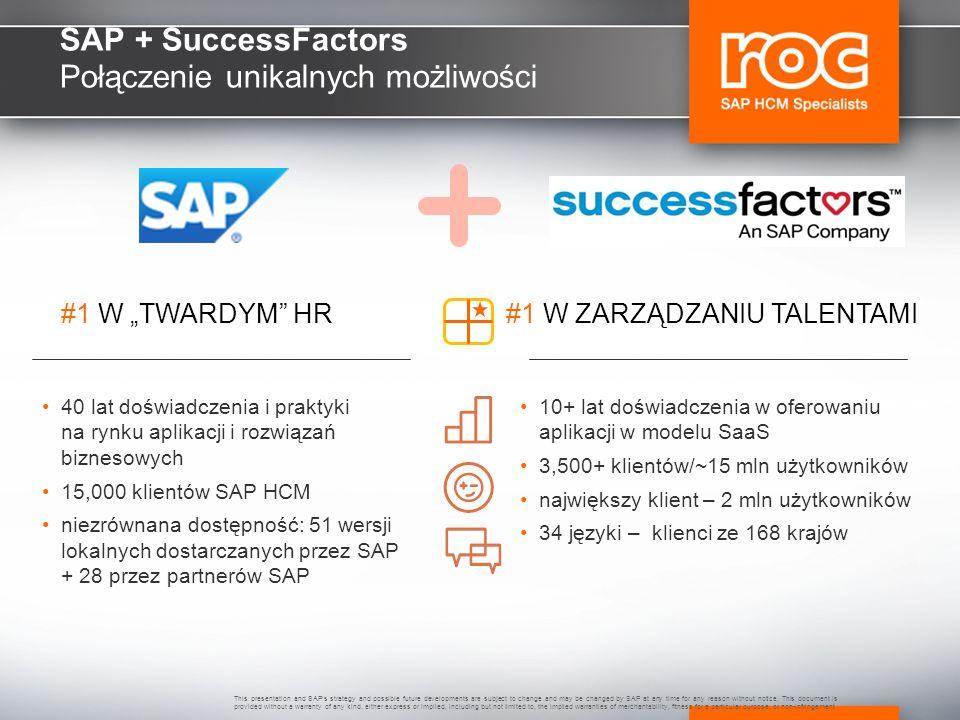 SAP + SuccessFactors Połączenie unikalnych możliwości