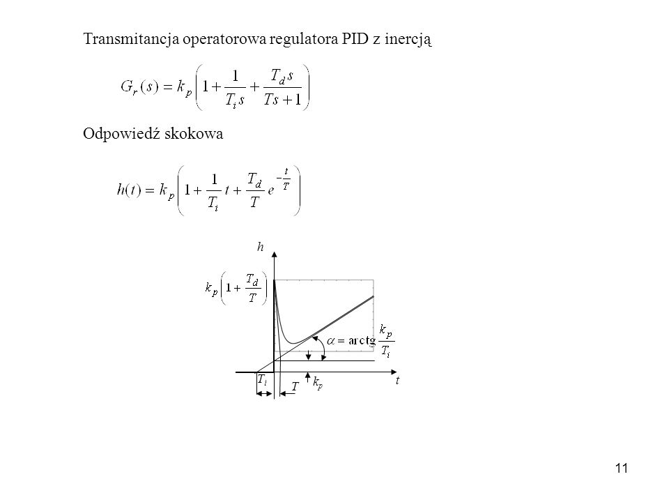 Transmitancja operatorowa regulatora PID z inercją