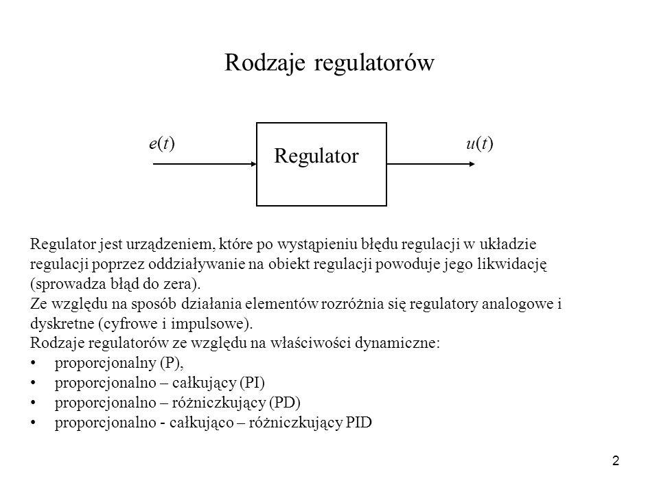 Rodzaje regulatorów Regulator e(t) u(t)