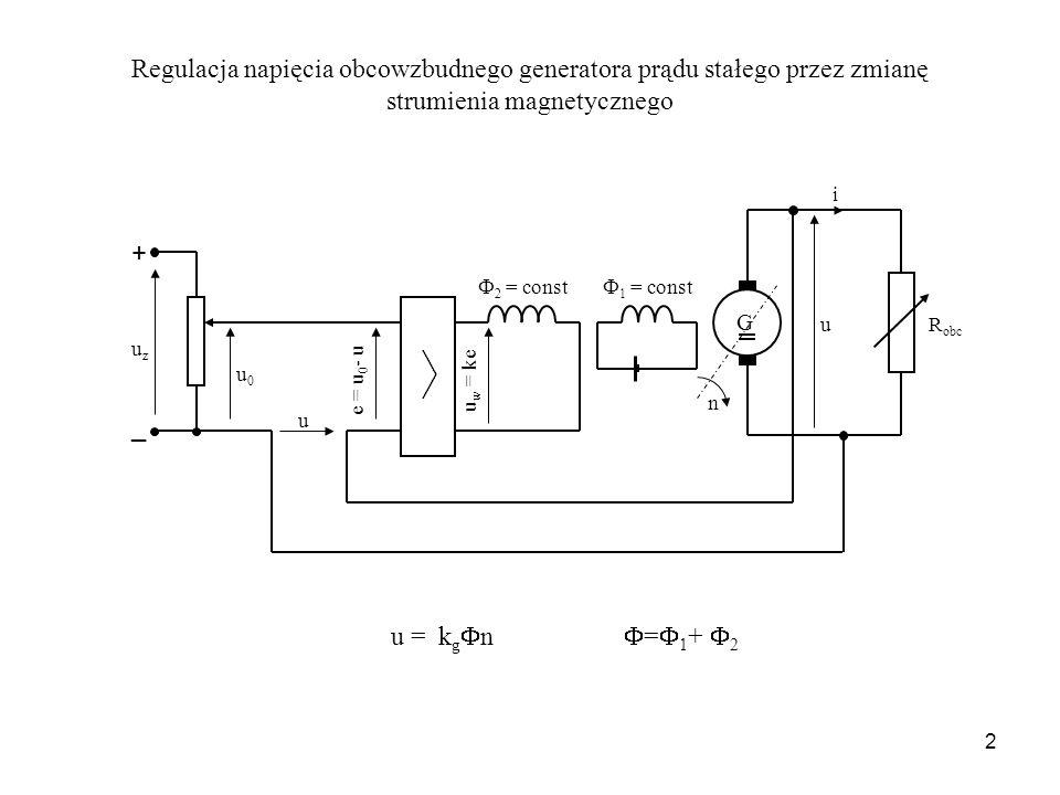 Regulacja napięcia obcowzbudnego generatora prądu stałego przez zmianę strumienia magnetycznego