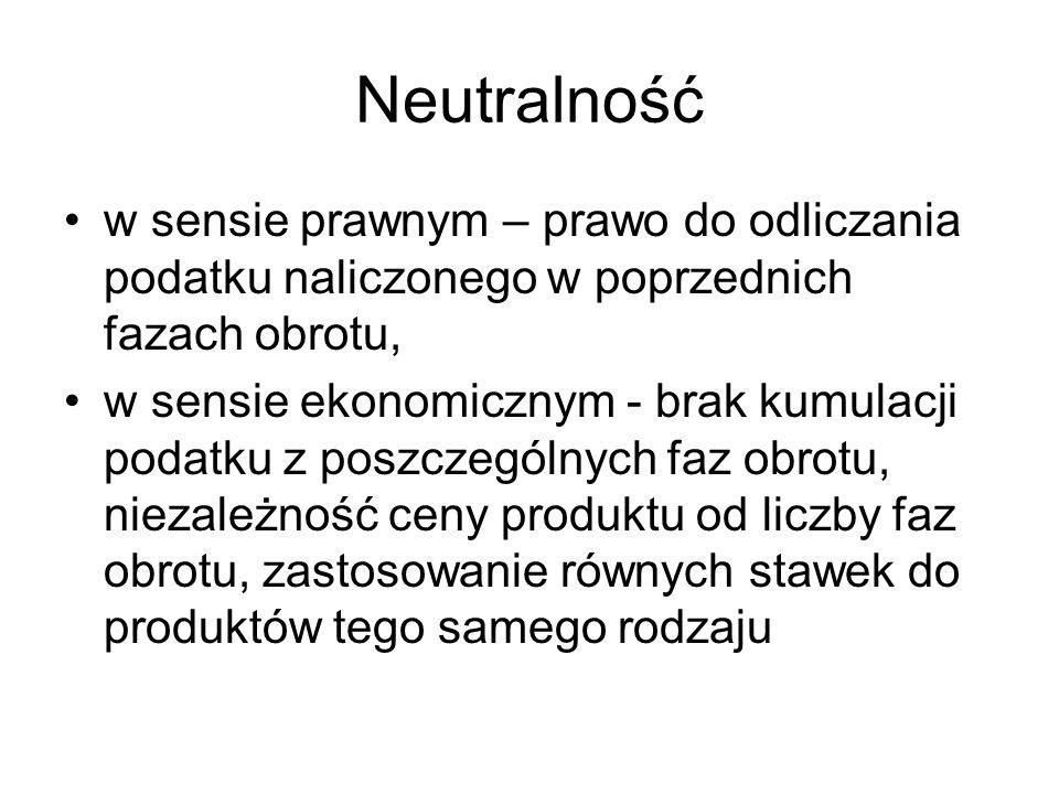 Neutralnośćw sensie prawnym – prawo do odliczania podatku naliczonego w poprzednich fazach obrotu,