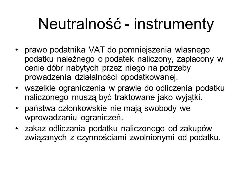 Neutralność - instrumenty