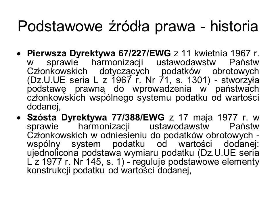 Podstawowe źródła prawa - historia