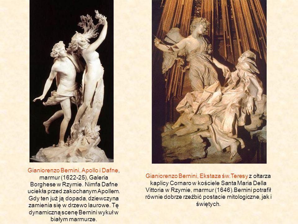 Gianiorenzo Bernini, Apollo i Dafne, marmur (1622-25), Galeria Borghese w Rzymie. Nimfa Dafne uciekła przed zakochanym Apollem. Gdy ten już ją dopada, dziewczyna zamienia się w drzewo laurowe. Tę dynamiczną scenę Bernini wykuł w białym marmurze.