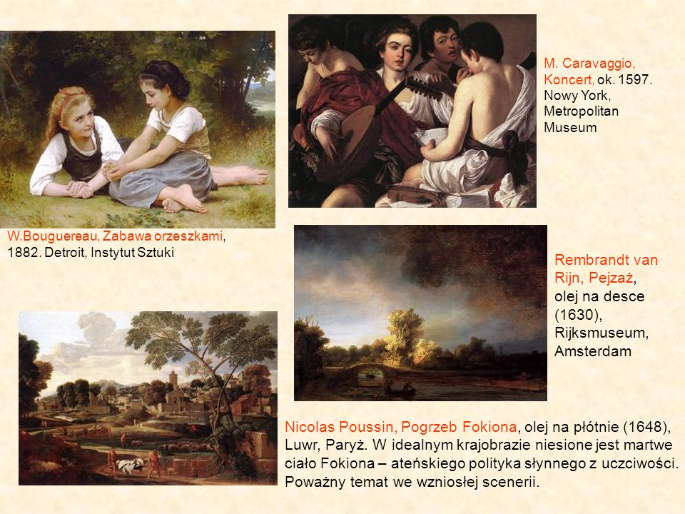 M. Caravaggio, Koncert, ok. 1597. Nowy York, Metropolitan Museum