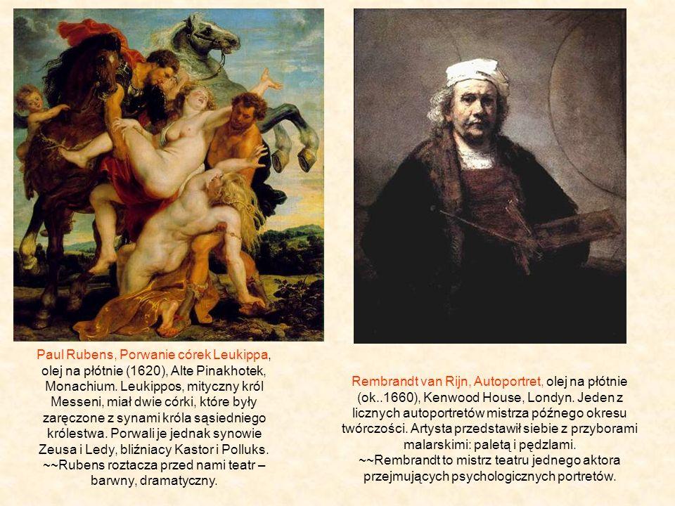 Paul Rubens, Porwanie córek Leukippa, olej na płótnie (1620), Alte Pinakhotek, Monachium. Leukippos, mityczny król Messeni, miał dwie córki, które były zaręczone z synami króla sąsiedniego królestwa. Porwali je jednak synowie Zeusa i Ledy, bliźniacy Kastor i Polluks. ~~Rubens roztacza przed nami teatr – barwny, dramatyczny.