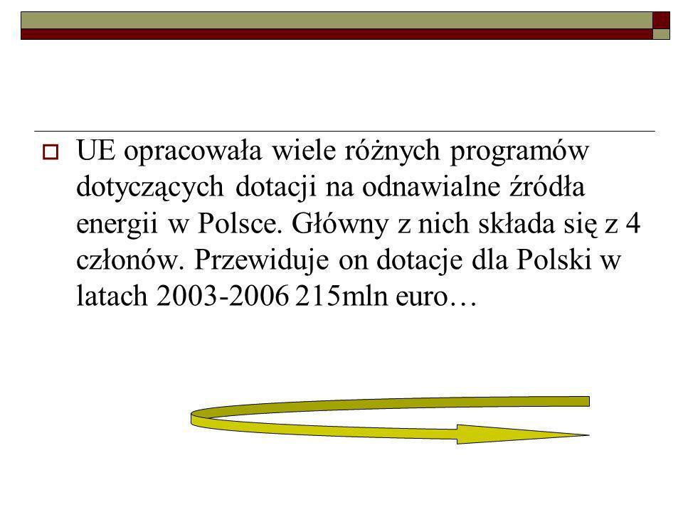 UE opracowała wiele różnych programów dotyczących dotacji na odnawialne źródła energii w Polsce.