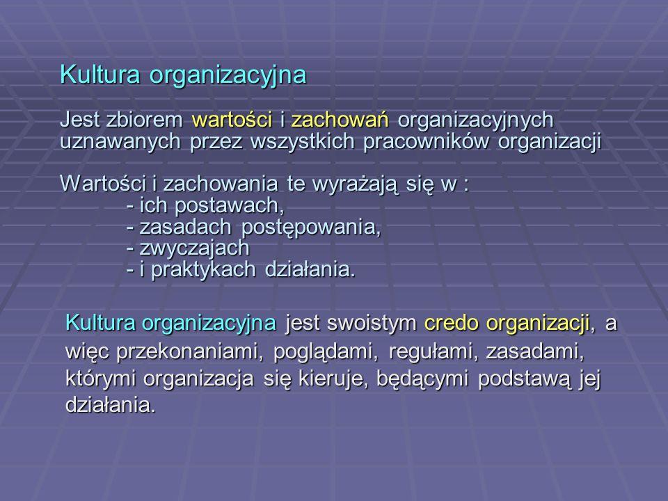 Kultura organizacyjna Jest zbiorem wartości i zachowań organizacyjnych uznawanych przez wszystkich pracowników organizacji Wartości i zachowania te wyrażają się w : - ich postawach, - zasadach postępowania, - zwyczajach - i praktykach działania.