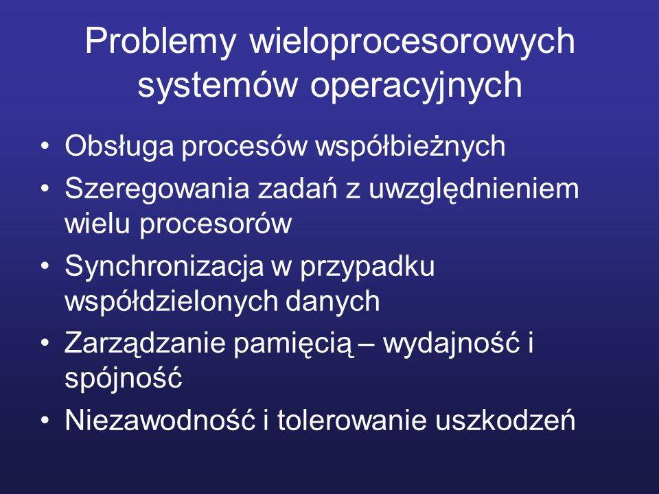 Problemy wieloprocesorowych systemów operacyjnych