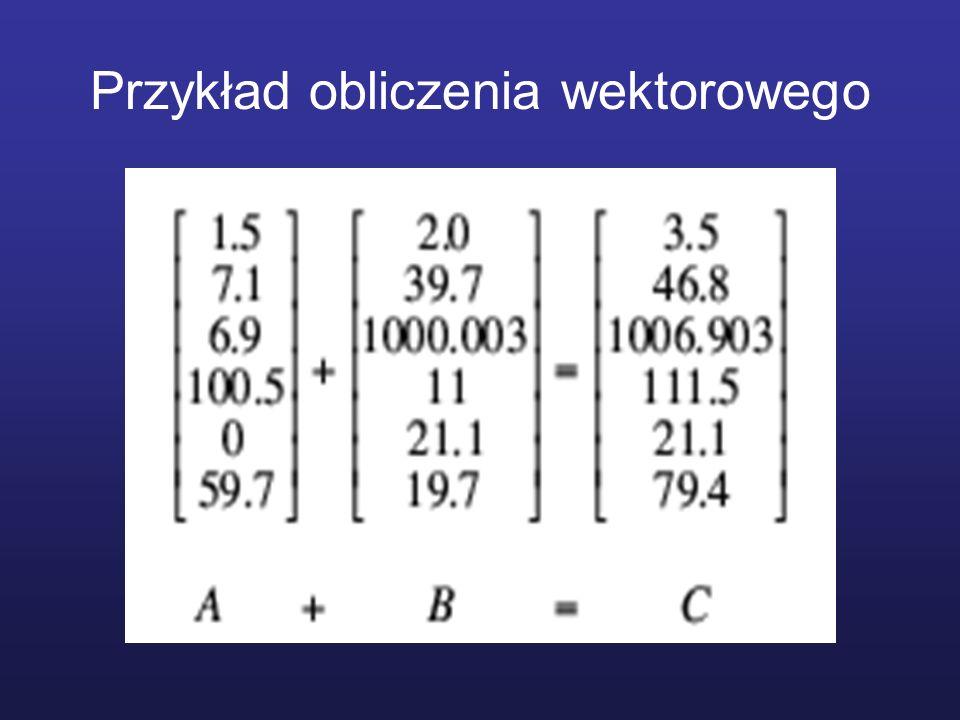 Przykład obliczenia wektorowego