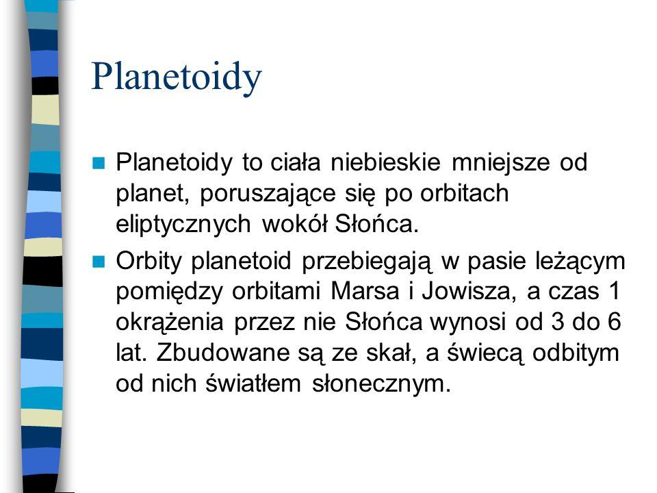 Planetoidy Planetoidy to ciała niebieskie mniejsze od planet, poruszające się po orbitach eliptycznych wokół Słońca.
