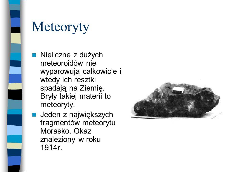 Meteoryty Nieliczne z dużych meteoroidów nie wyparowują całkowicie i wtedy ich resztki spadają na Ziemię. Bryły takiej materii to meteoryty.