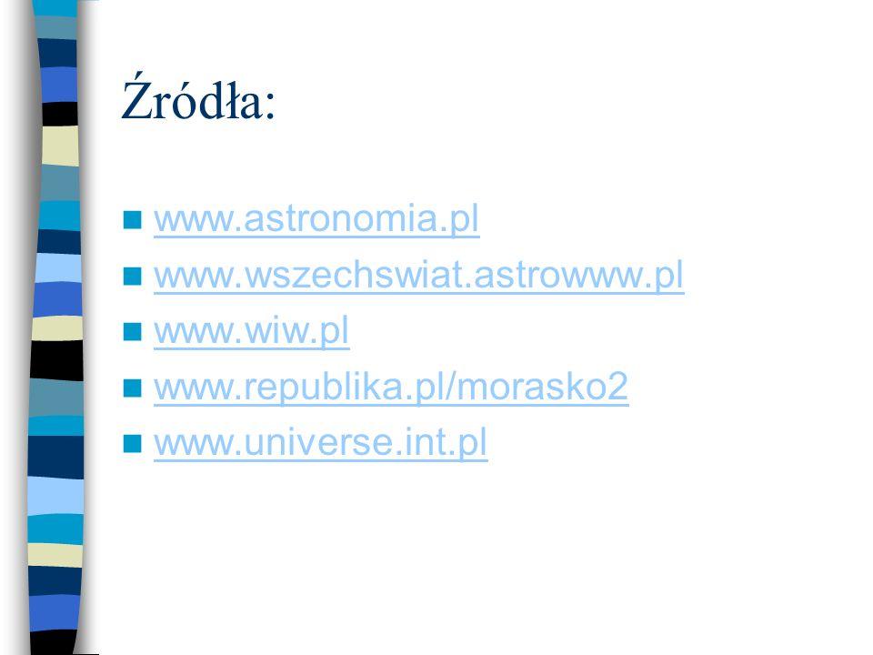 Źródła: www.astronomia.pl www.wszechswiat.astrowww.pl www.wiw.pl