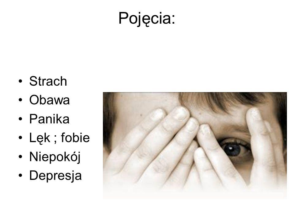 Pojęcia: Strach Obawa Panika Lęk ; fobie Niepokój Depresja
