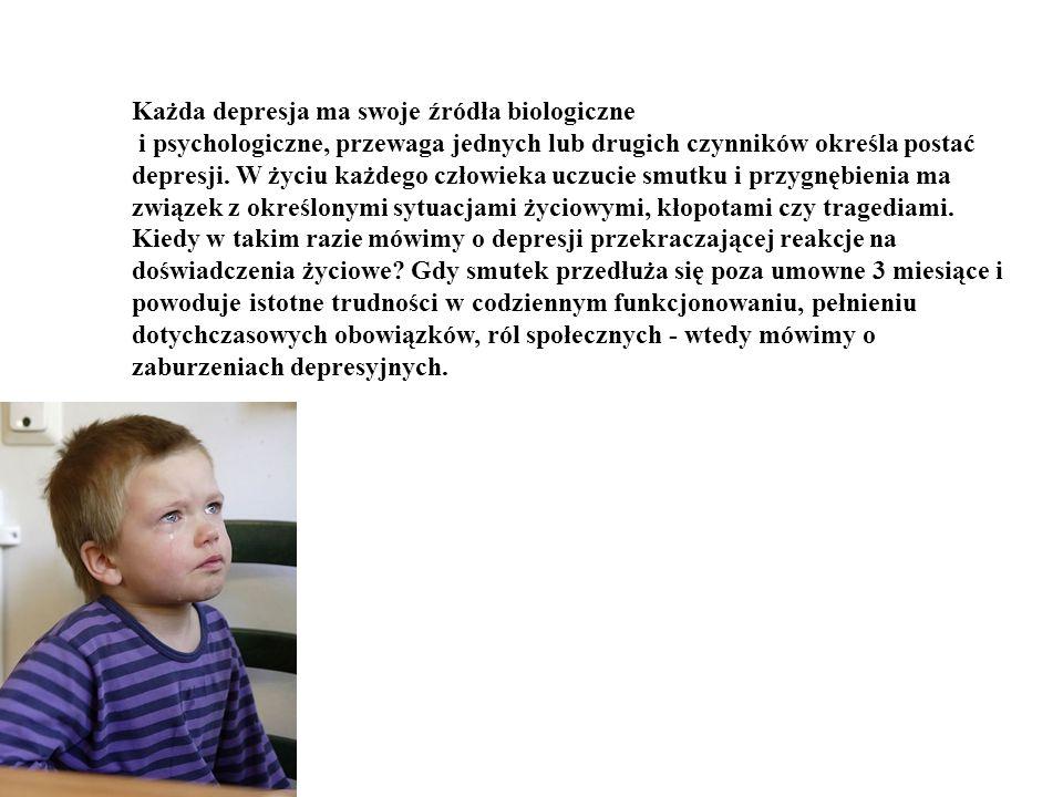 Każda depresja ma swoje źródła biologiczne i psychologiczne, przewaga jednych lub drugich czynników określa postać depresji.