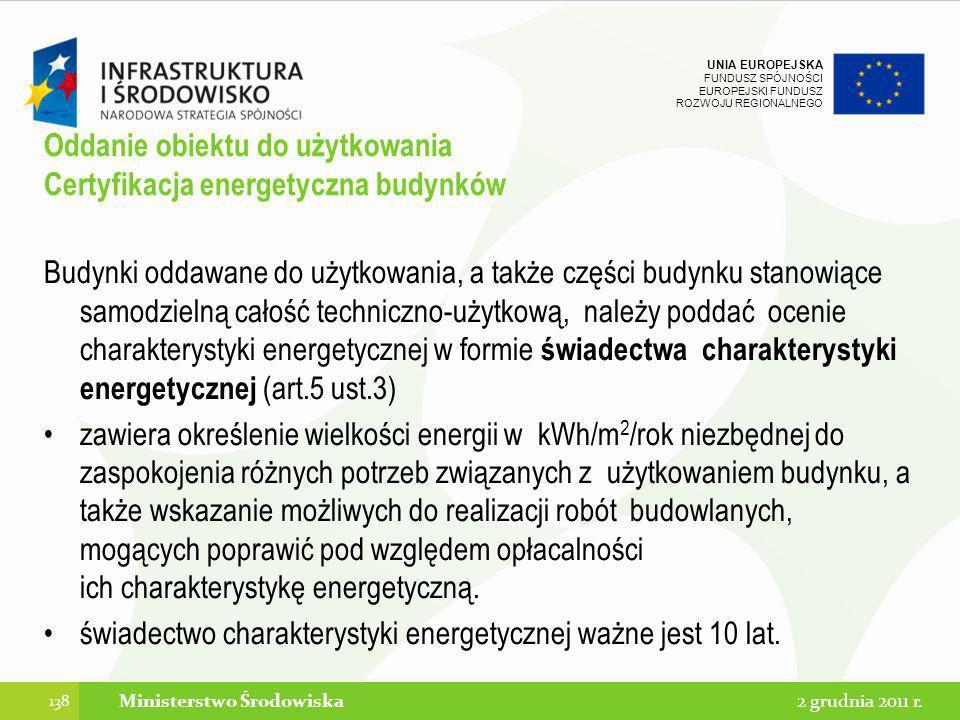 Oddanie obiektu do użytkowania Certyfikacja energetyczna budynków