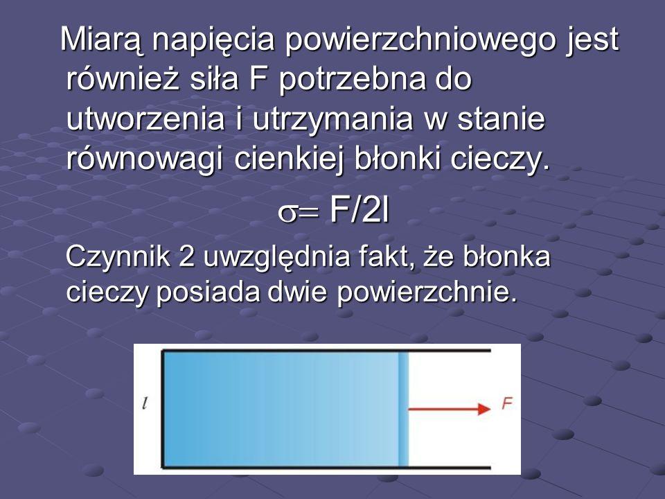 Miarą napięcia powierzchniowego jest również siła F potrzebna do utworzenia i utrzymania w stanie równowagi cienkiej błonki cieczy.