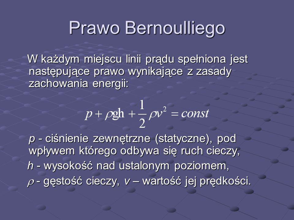 Prawo Bernoulliego W każdym miejscu linii prądu spełniona jest następujące prawo wynikające z zasady zachowania energii: