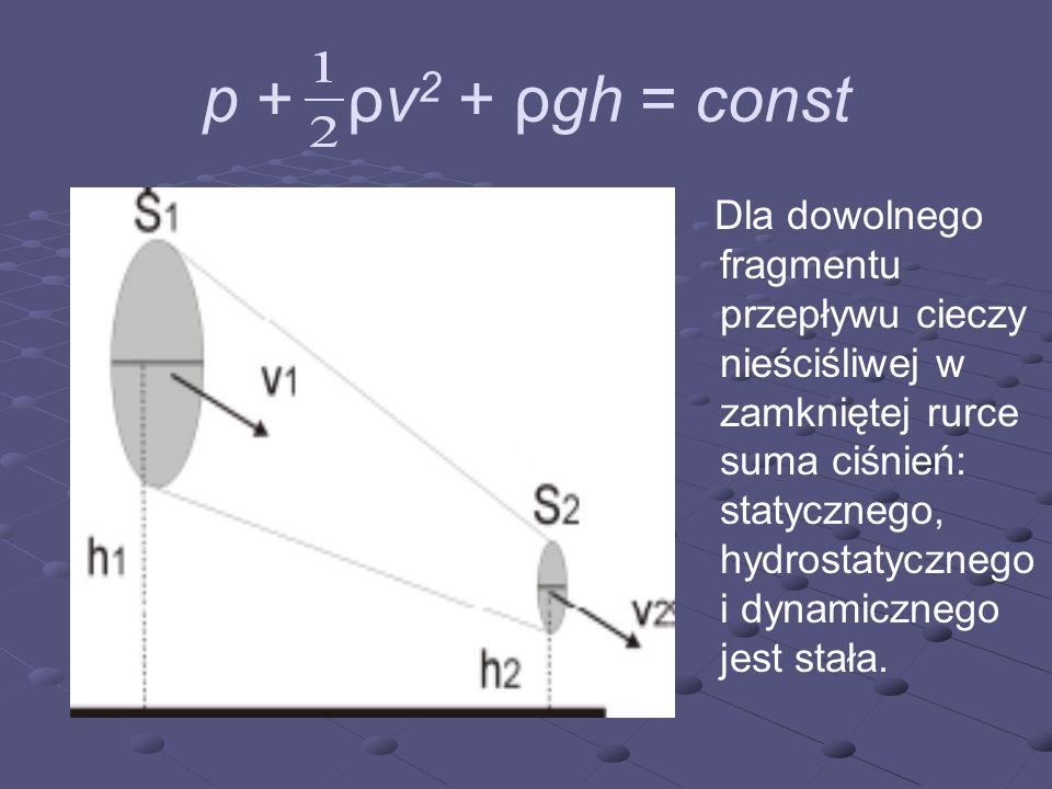 p + ρv2 + ρgh = const