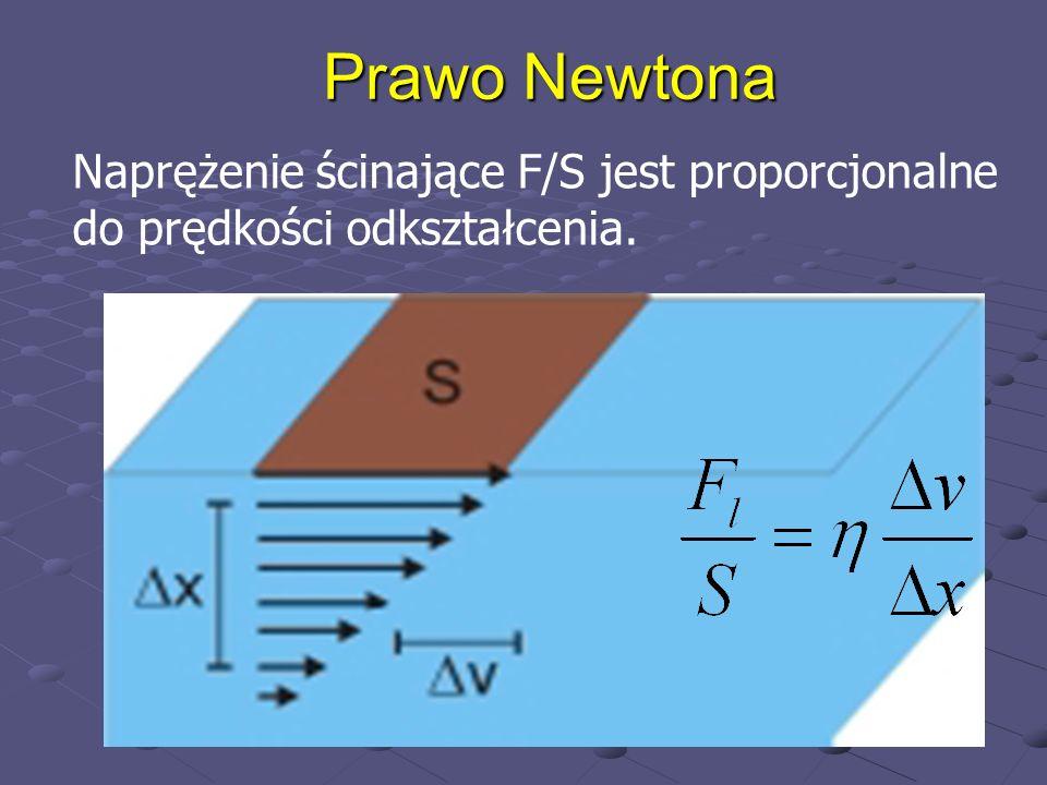 Prawo Newtona Naprężenie ścinające F/S jest proporcjonalne do prędkości odkształcenia.