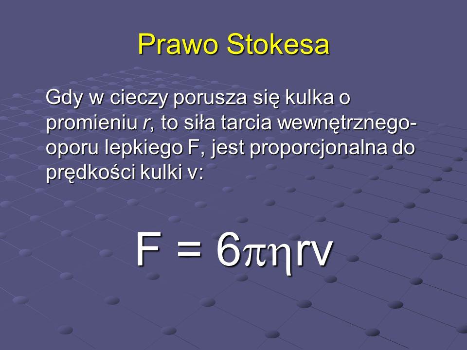 Prawo StokesaGdy w cieczy porusza się kulka o promieniu r, to siła tarcia wewnętrznego- oporu lepkiego F, jest proporcjonalna do prędkości kulki v: