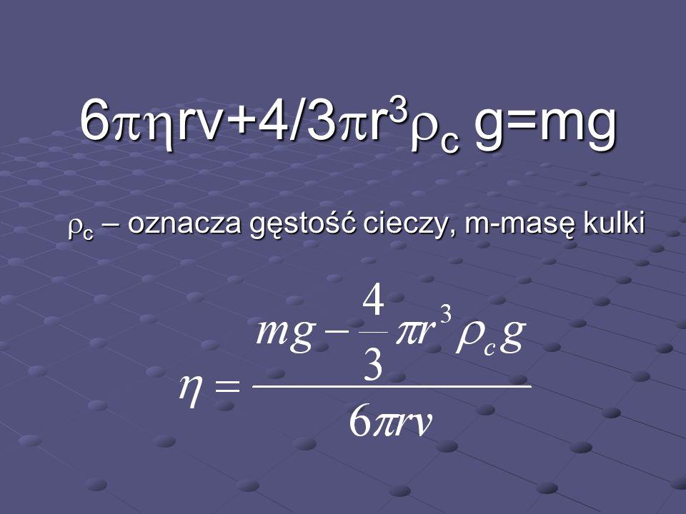 6phrv+4/3pr3rc g=mg rc – oznacza gęstość cieczy, m-masę kulki