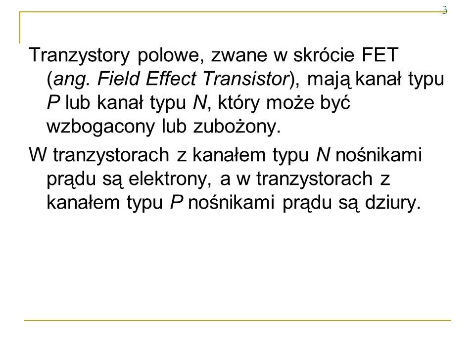 3Tranzystory polowe, zwane w skrócie FET (ang. Field Effect Transistor), mają kanał typu P lub kanał typu N, który może być wzbogacony lub zubożony.