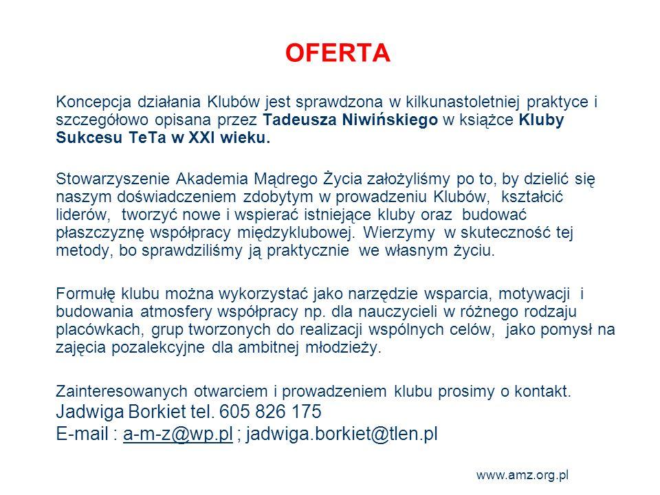 OFERTA Jadwiga Borkiet tel. 605 826 175