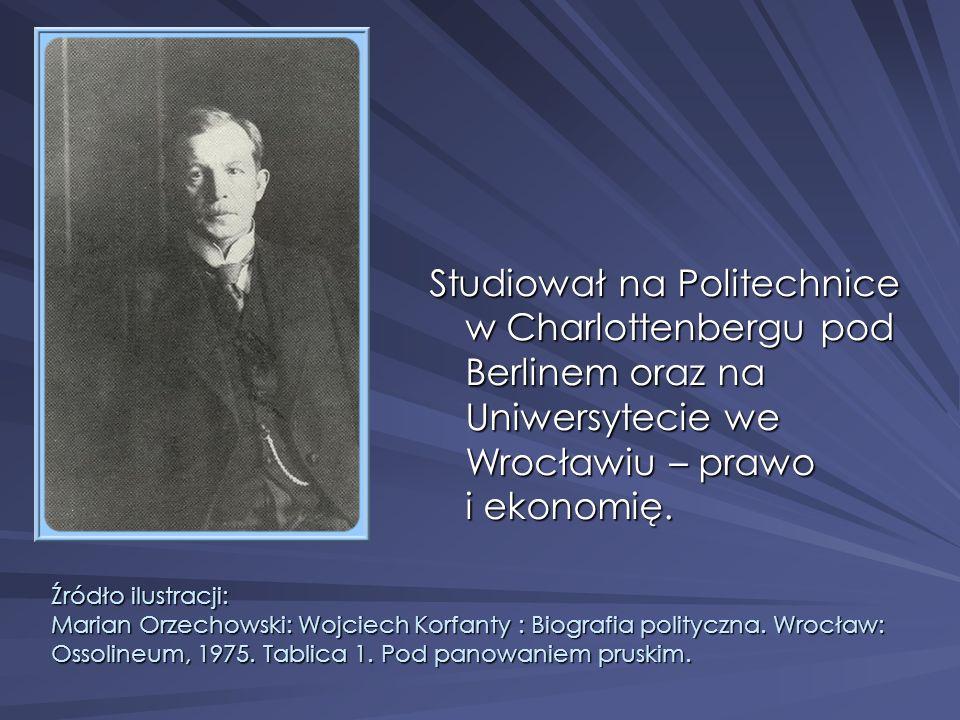 Studiował na Politechnice w Charlottenbergu pod Berlinem oraz na Uniwersytecie we Wrocławiu – prawo i ekonomię.