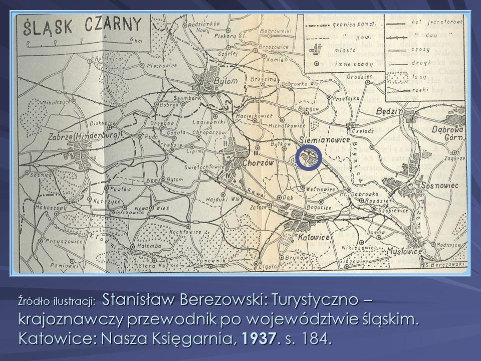 Źródło ilustracji: Stanisław Berezowski: Turystyczno – krajoznawczy przewodnik po województwie śląskim.