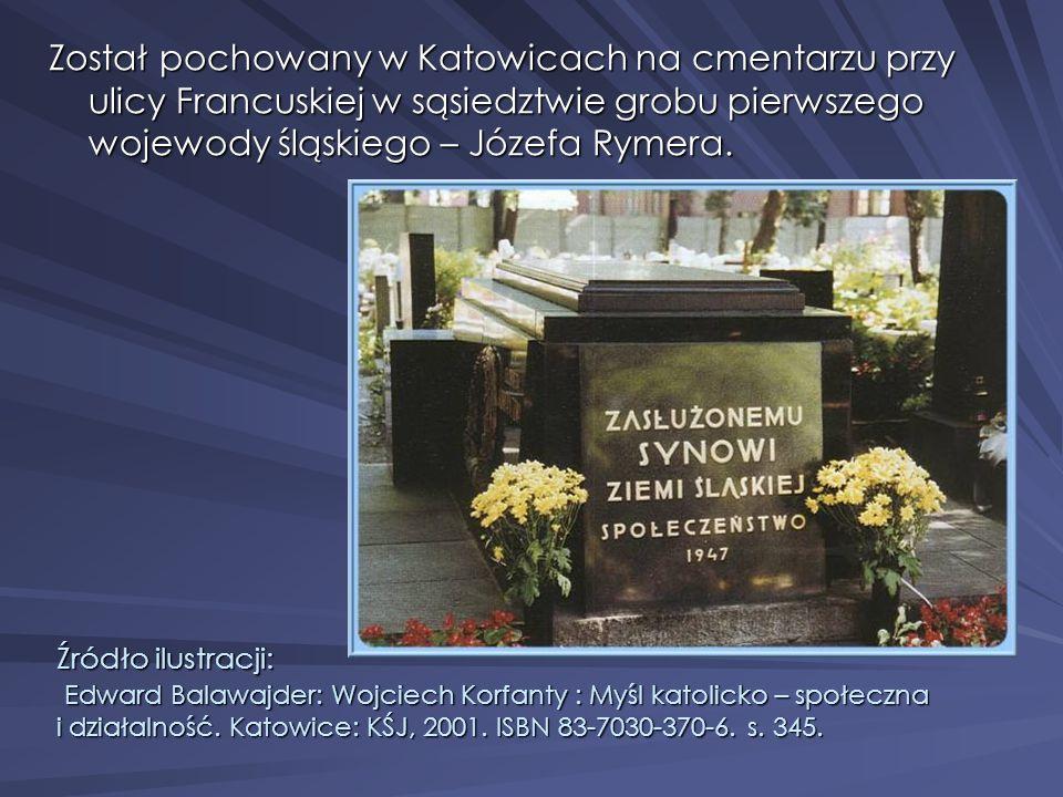Został pochowany w Katowicach na cmentarzu przy ulicy Francuskiej w sąsiedztwie grobu pierwszego wojewody śląskiego – Józefa Rymera.