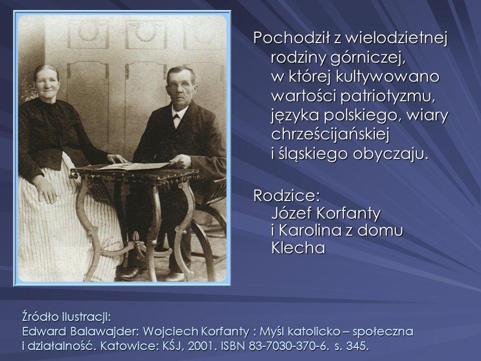 Rodzice: Józef Korfanty i Karolina z domu Klecha