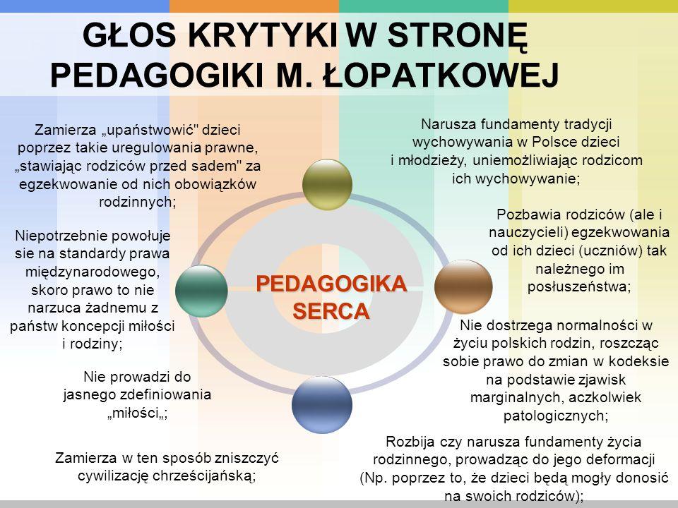 GŁOS KRYTYKI W STRONĘ PEDAGOGIKI M. ŁOPATKOWEJ