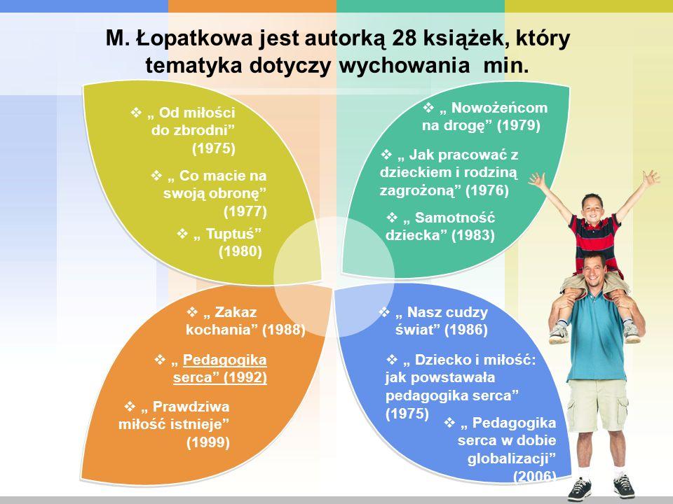 M. Łopatkowa jest autorką 28 książek, który tematyka dotyczy wychowania min.