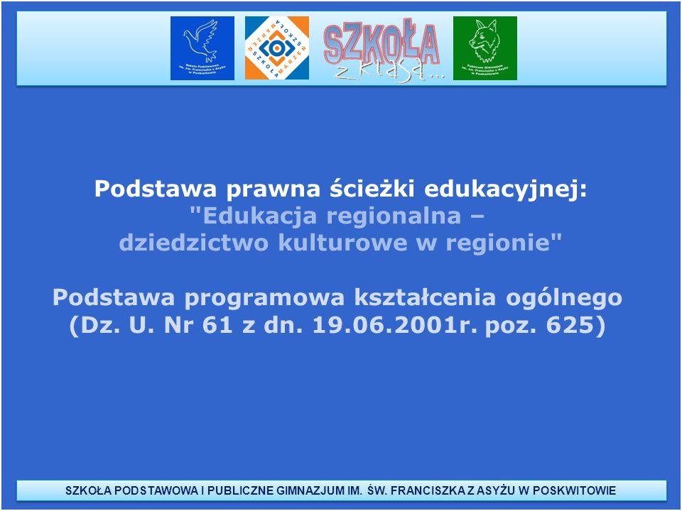 Podstawa prawna ścieżki edukacyjnej: Edukacja regionalna –